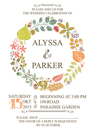 Retro wedding invitation with autumn leaves.Vector design template