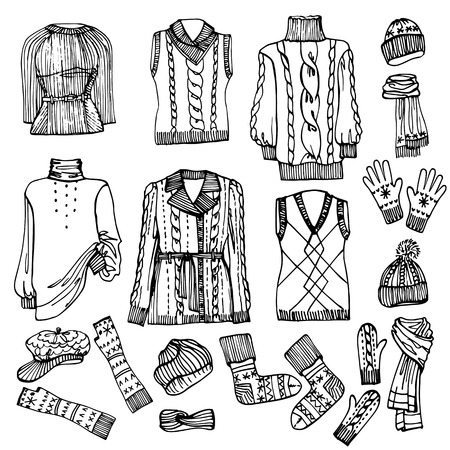 Outline Sketchy.Females knitted clothing set Vector