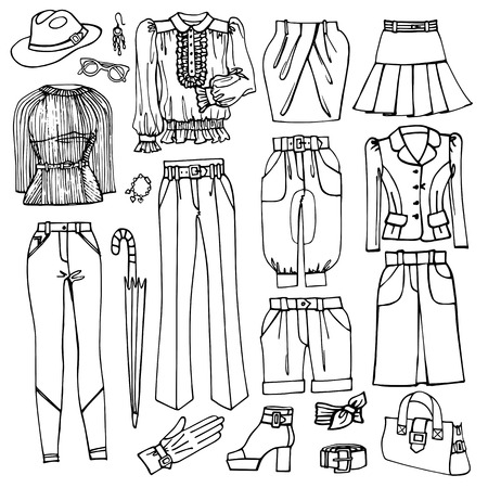 Outline Sketchy.Females clothing and accessories set Vector