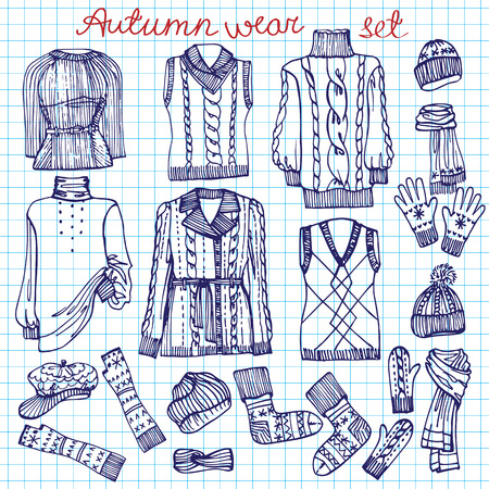 Outline Sketchy notepaper.Females knitted clothing set Vector