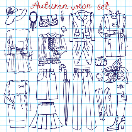 spring coat: Outline Sketchy notepaper.Females clothing ,accessories Illustration