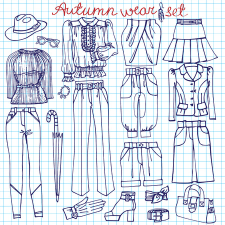 Outline Sketchy notepaper.Females clothing ,accessories Vector