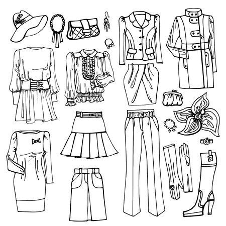 spring coat: Outline Sketch.Females clothing and accessories set
