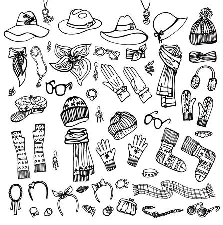 Outline Sketch. Female Accessories Set.Autumn,winter Çizim