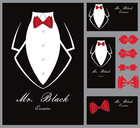 Business tuxedo background with a red bow tie