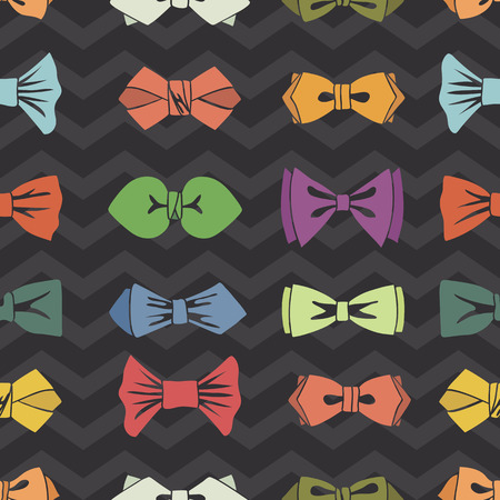official wear: Bow tie seamless pattern.Zigzag background.