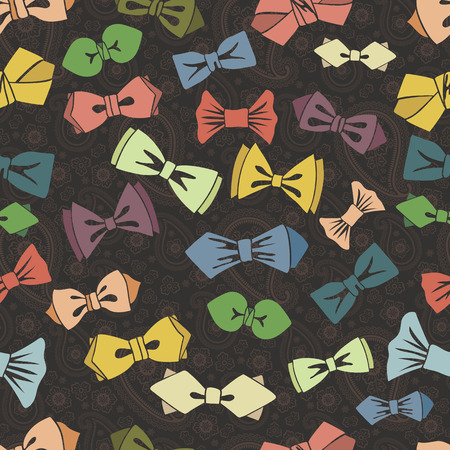 official wear: Bow tie seamless pattern.Paisley background. Illustration