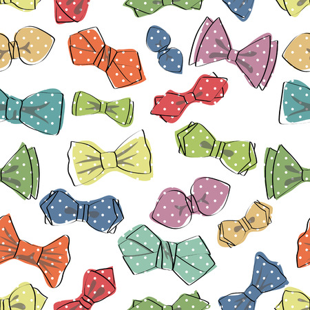 colourful tie: Bow tie seamless pattern.