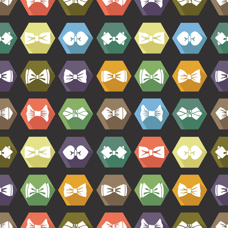 official wear: Bow tie icons seamless pattern. Cartoon colorful  Illustration