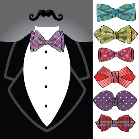 Vector tuxedo with ornamental bow tie set  Vector