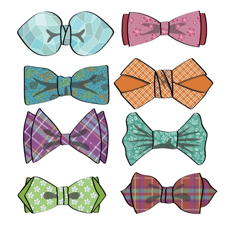 chik: Colored  bow tie with simple pattern.Retro fashion set
