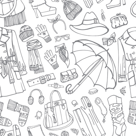 Coat and clothing accessories in seamless pattern. Woman fasion Illustration