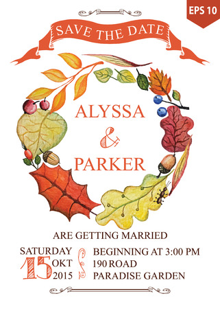 save the date: Autumn wedding save date card with Watercolor leaves wreath