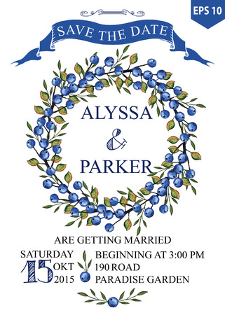 Wedding save date card with Watercolor Blueberries wreath 向量圖像