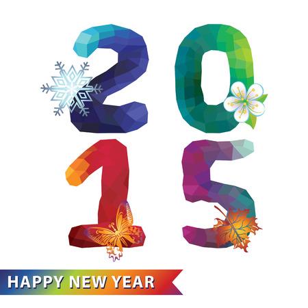 frohes neues jahr: Neues Jahr 2015.Multicolor Polygone Zahlen mit Jahreszeiten-Symbole