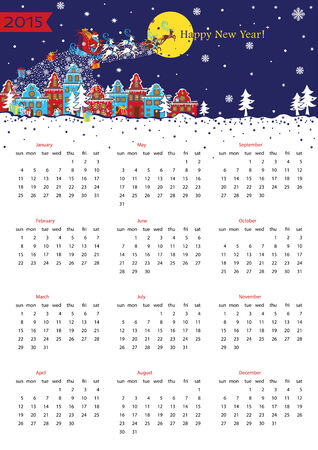 Happy New year 2015  European calendar Vector