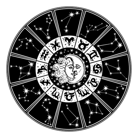 man on the moon: Horoscope circle. Zodiac sign,moon,sun.