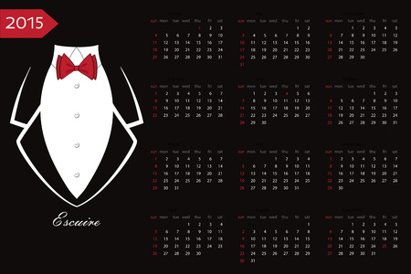 red ribbon week:  2015  calendar.Business tuxedo with a red bow tie