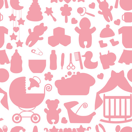 Sweet Newborn Baby girl seamless pattern Vector