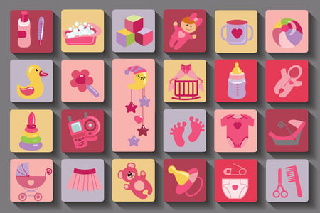 Newborn Baby girl set.Flat Icons with long shadow Vector