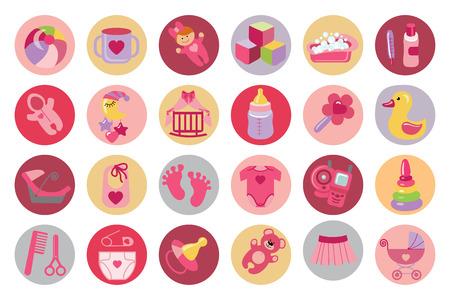 Newborn Baby girl icons set. Baby shower Vettoriali