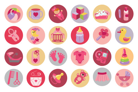 Newborn Baby girl icons set. Baby shower Vector