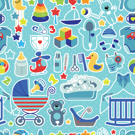 Newborn Baby boy seamless pattern with Polka dot Vector