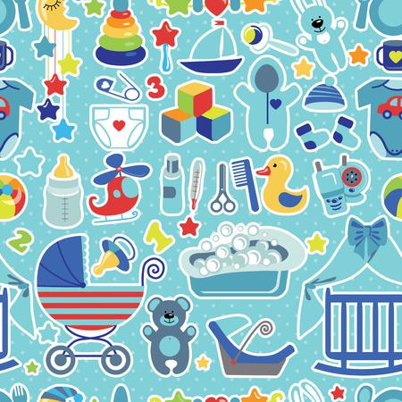 boy bath: Newborn Baby boy seamless pattern with Polka dot