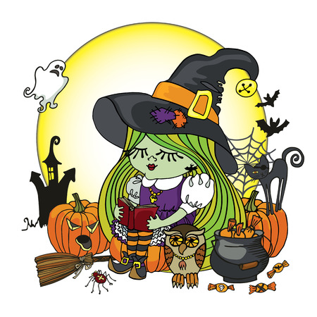 Little Halloween Witch girl reading book. Vector
