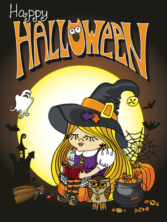 Little Halloween Witch girl reading book Vector