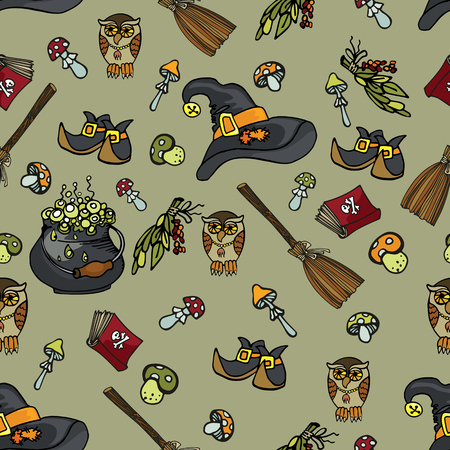 Halloween doodles seamless pattern or background Vector