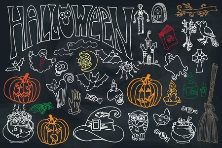 Halloween doodles icons set with text.Hand drowing sketchy on chalkboard in the style of childrens drawing . For design template,invitations . Vector Vector