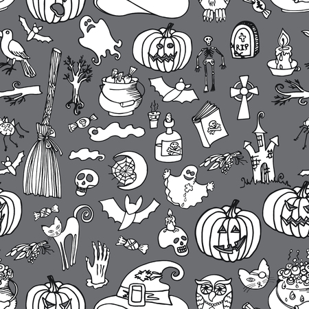 Halloween doodles icons in seamless pattern or background Vector
