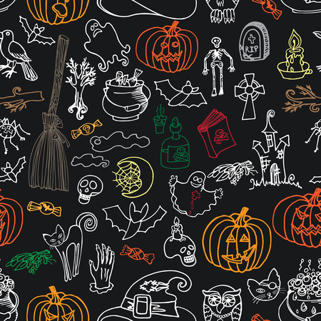 Halloween doodles icons seamless pattern or background Vector
