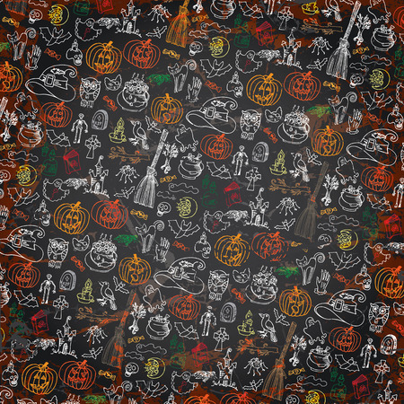 Halloween doodles icons pattern background.Hand drowing sketchy on chalkboard in the style of childrens drawing.For background,backdrop,Wallpaper,wrapping paper.Shabby,grunge ,vintage Vector Vector