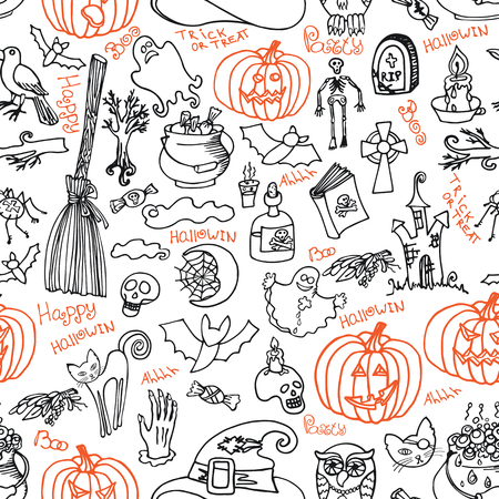 Halloween doodles icons and text in seamless pattern or background Vector