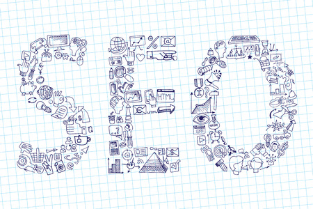 Word seo in Doodle icons. Sketchy notepaper Vector