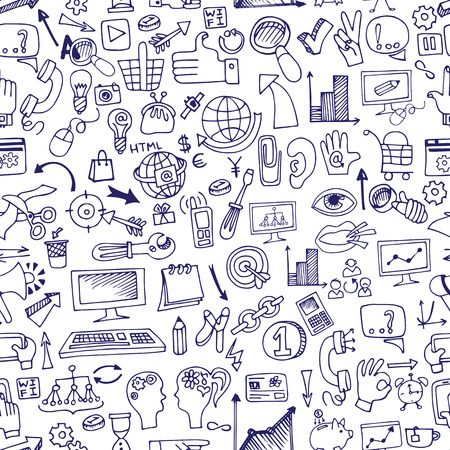 Doodle seo icons in seamless pattern.eps