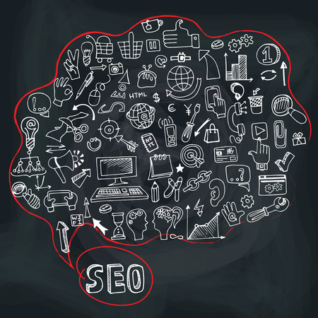 drow: Doodle seo concept with icons in Speak bubble.Chalkboard