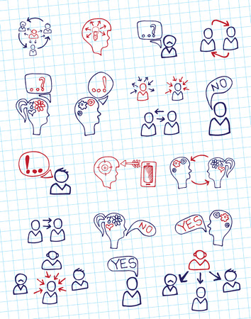 Doodle scheme people communication with icons.Notepaper Vector