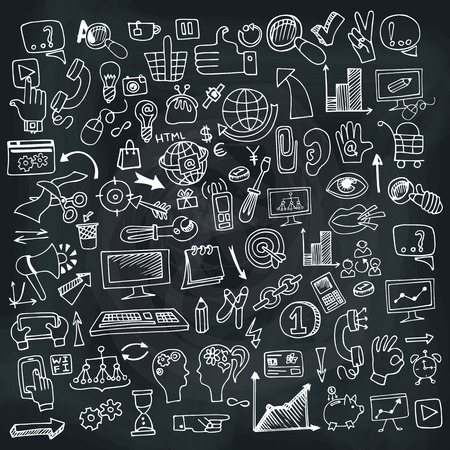 drow: Doodle hand drow business seo sketchy icons on Chalckboard. Business concept . Vector illustration