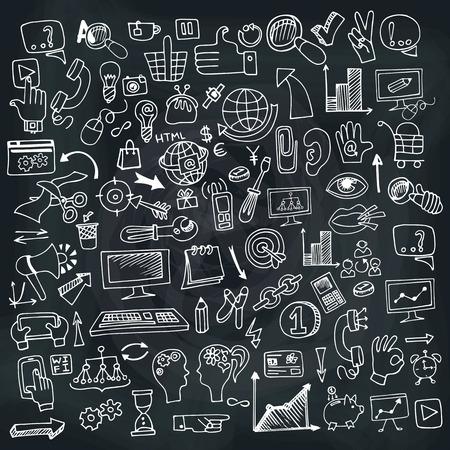Doodle Hand Drow Business SEO skizzen Symbole auf Chalckboard. Business-Konzept. Vektor-Illustration Standard-Bild - 32498981