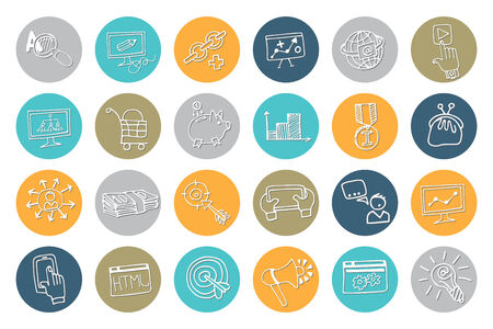 drow: Doodle hand drow business seo sketchy icons on colored circle. Business concept . Vector illustration Illustration