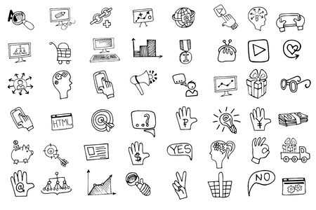 Doodle hand draw business seo sketchy icons big set . Business concept . Vector illustration Vector