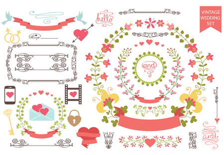 Vintage wedding set.Floral wreath,icons, swirling border,hearts Vector
