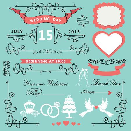 Vintage ontwerp van het Huwelijk elements.Ornate set Stock Illustratie