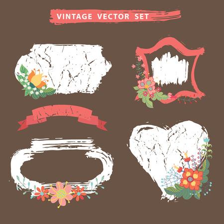 Vintage flotal set with stamps.Vector Vector