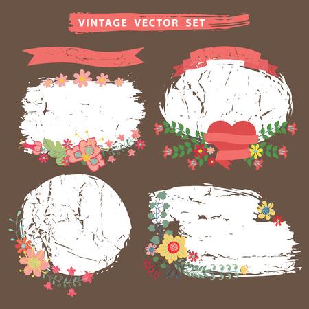 Vintage flotal set with grunge stamps.Vector Vector