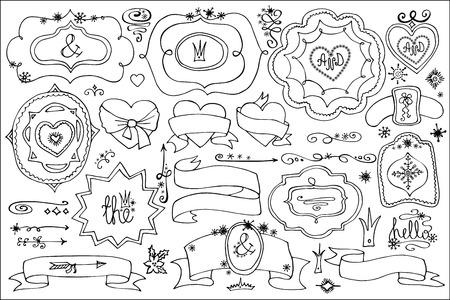 Doodle labels,badges,decor element.Winter Love Vector