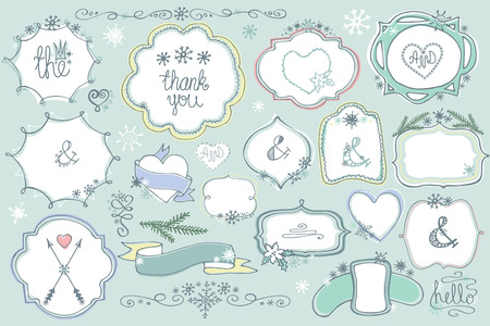 hand drawing: Doodle colored  labels, badges,frame,decor element Winter set Illustration